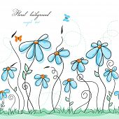 picture of blue butterfly  - Blue floral garden - JPG