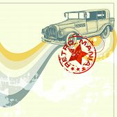 Retro car design, grunge background