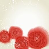 Beautiful red flowers retro background