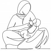 Continuous Single Drawn One Line Indian Woman Krmit Her Child With A Breast Drawn Hand-drawn Picture poster