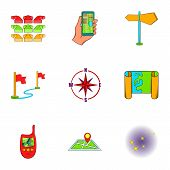 Find Way Icons Set. Cartoon Illustration Of 9 Find Way Icons For Web poster
