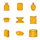 Packing Icons Set. Cartoon Illustration Of 9 Packing Icons For Web poster