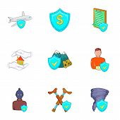Accident Icons Set. Cartoon Illustration Of 9 Accident Icons For Web poster