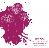 Card with elegant poppies on violet inky splashes