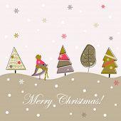 Fondo de Navidad gris de la historieta, doodle árboles