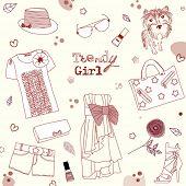 Trendy girl set, stylized doodles