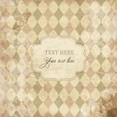 stock photo of dot pattern  - Vector vintage scrap card with rhombuses - JPG