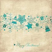 Vintage Christmas card with snowflakes
