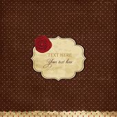 Vintage brown card with rose