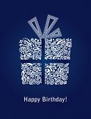 foto of happy birthday  - Detailed blue Happy Birthday card - JPG