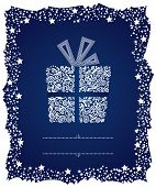 Gift box in a frosty Christmas frame