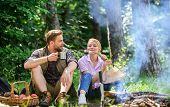 Couple Take Break To Eat Nature Background. Couple In Love Camping Forest Hike. Food For Hike And Ca poster