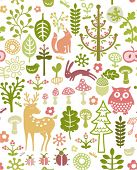 seamless forest pattern with little animals