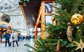 Постер, плакат: Christmas Tree And Market At Kaiser Wilhelm Memorial Church In Winter Berlin Germany Advent Fair D