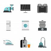 Appliances Icons Set. Flat Illustration Of 9 Appliances Icons For Web poster