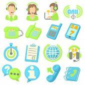Call Center Items Icons Set. Cartoon Illustration Of 16 Call Center Items Icons For Web poster