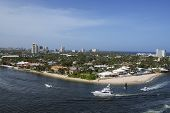 A Scenic View Of The Fort Lauderdale Coastline With Beaches, Boats And Luxury Homes. poster