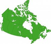 Green Canada map with province borders