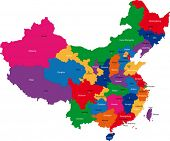 image of cartographer  - Colorful administrative divisions of China with capital cities - JPG
