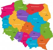 stock photo of cartographer  - Vector color map of administrative divisions of Poland with capital cities - JPG