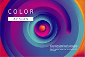 Presentation Cover With Spiral Lines And Vibrant Gradient. Abstract Horizontal Background With Color poster