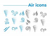 Wind Icons Nature, Wave Flowing, Cool Weather, Climate And Motion poster