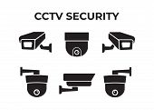 Camera Cctv Security Icon. Video Surveillance Security Cameras Vector Icons Set. Black Camera Cctv poster