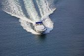 Aerial View Luxury Motor Boat At Sea poster
