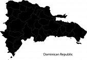 Mapa de República Dominicana de negro separado en las provincias