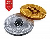 Bitcoin And Eos. 3d Isometric Physical Coins. Digital Currency. Cryptocurrency. Silver Coin With Eos poster