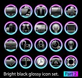 Black glossy icon set 2. Standart collection of design element for your creative word (see other in my portfolio).