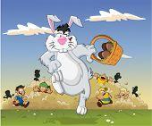 Cartoon-Osterhase tragen einen Korb voller Schokoladeneier, ausgeführt von Kindern