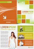 Yellow, orange and green template for advertising brochure with woman in white dress
