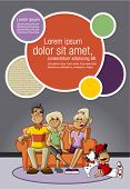 Template for advertising brochure with a happy cartoon family with kids on the couch