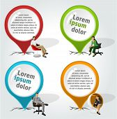 Colorful pointers with business people on chair. Vector arrow label.