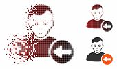 Previous User Icon With Face In Dispersed, Pixelated Halftone And Undamaged Entire Versions. Element poster