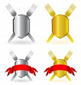 Vector gold and silver shields with forks and red banner for restaurant design