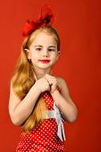Retro Look, Hairdresser, Makeup. Little Girl In Vintage Dress, Prom. Child Girl In Stylish Glamour E poster