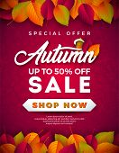 Autumn Sale Design With Falling Leaves And Lettering On Red Background. Autumnal Vector Illustration poster