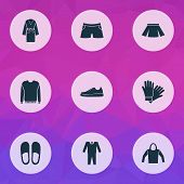 Clothes Icons Set With Pullover, Hoodie, Glove And Other Home Shoes Elements. Isolated  Illustration poster