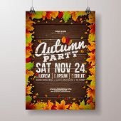 Autumn Party Flyer Illustration With Falling Leaves And Typography Design On Vintage Wood Background poster