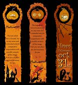Vertical Halloween Banners with funny hand-drawn pumpkins