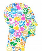 Communication-head.The development of global communications. Communication in mobile and internet ne