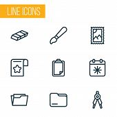 Instrument Icons Line Style Set With Day X, Folder, Open Folder And Other Archive Elements. Isolated poster