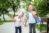 Two Happy Children Go To School. The Concept Of School, Study, Education, Friendship, Childhood poster