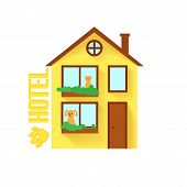 Pet Hotel With Cat And Dog In Windows. Pet Hotel Building In Flat Style. House For Pets poster