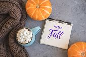 Autumn Background With Warm Knitted Scarf, Blue Mug With Coffee, Hot Chocolate, Cocoa, Marshmallow,  poster