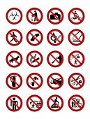 Warning signs isolated on white. Vector illustration.