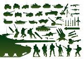 stock photo of legion  - Green military silhouettes - JPG