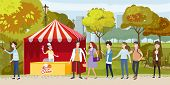 Street Ice Cream Cafe Queue Color Illustration. Smiling People In City Park Waiting For Ice Cream.fl poster